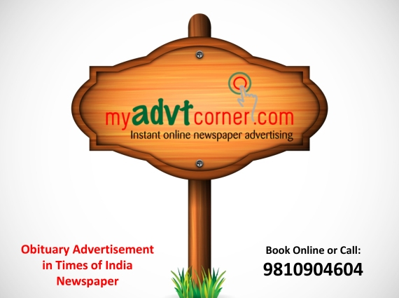 Times of India Obituary Ad